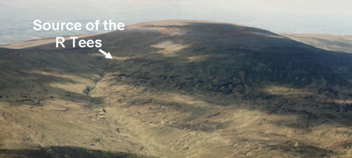 ...Where the arrow points is where the Tees springs up on Cross Fell.