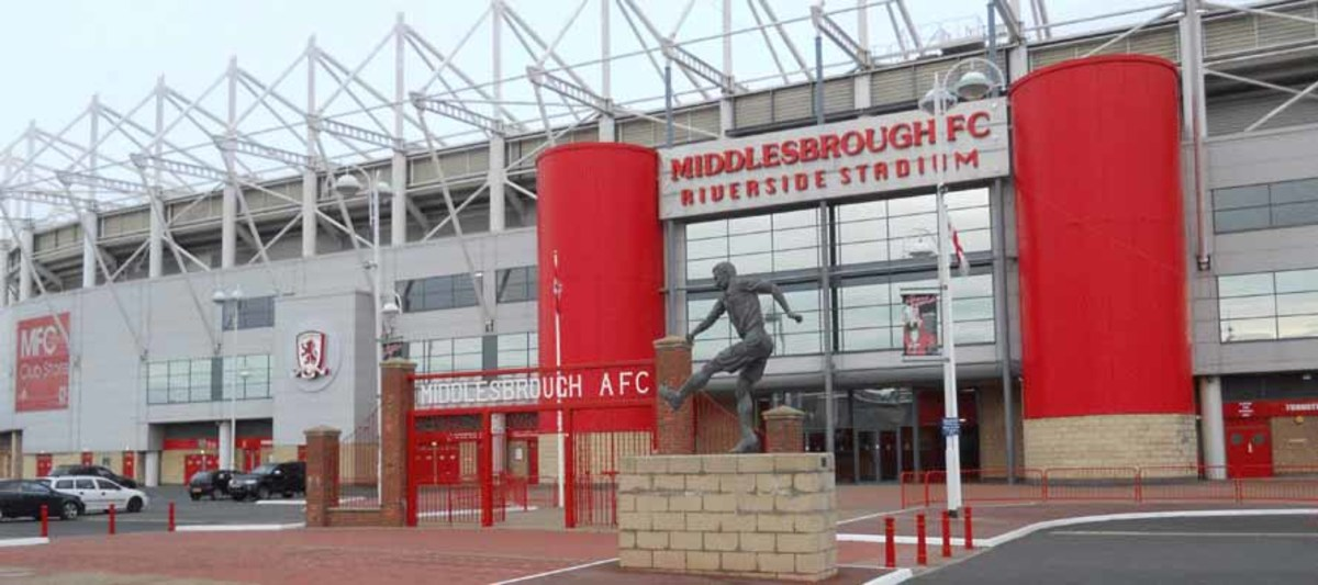 The main entrance to the Cellnet Riverside Stadium. Sited at the heart of the erstwhile Middlesbrough Docks, the stadium is reached from the A66 and through an underbridge under the A66 from town as well as from the imposing station