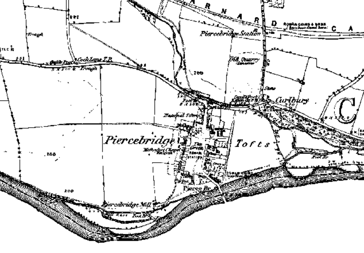 1850s Ordnance Survey map of Piercebridge