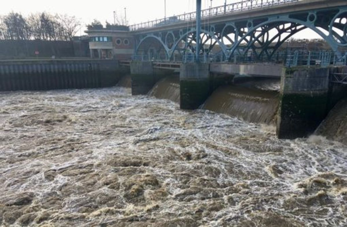 The Tees Barrier after storm 'Clara' hit the region on 9th-10th February, 2020 - see also Yarm pictures below