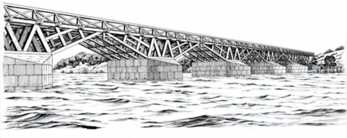 Artist's impression of the Roman bridge at Piercebridge (English Heritage)