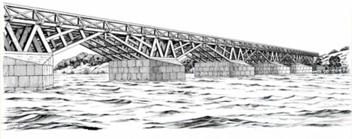 Artist's impression of the Roman bridge at Piercebridge (English Heritage)