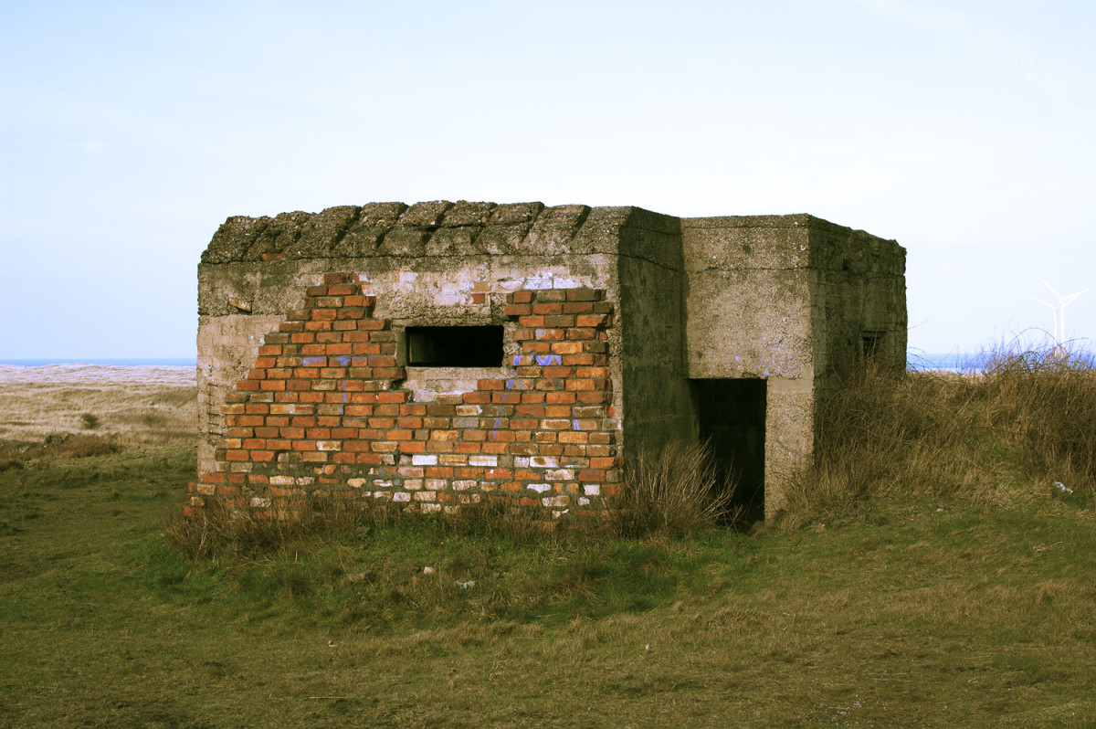 One of the wartime (WWII) concrete pillboxes has received an outer skin of brickwork. There were several near Teesmouth to combat possible landings of German forces (from the Netherlands, North Germany or Denmark).