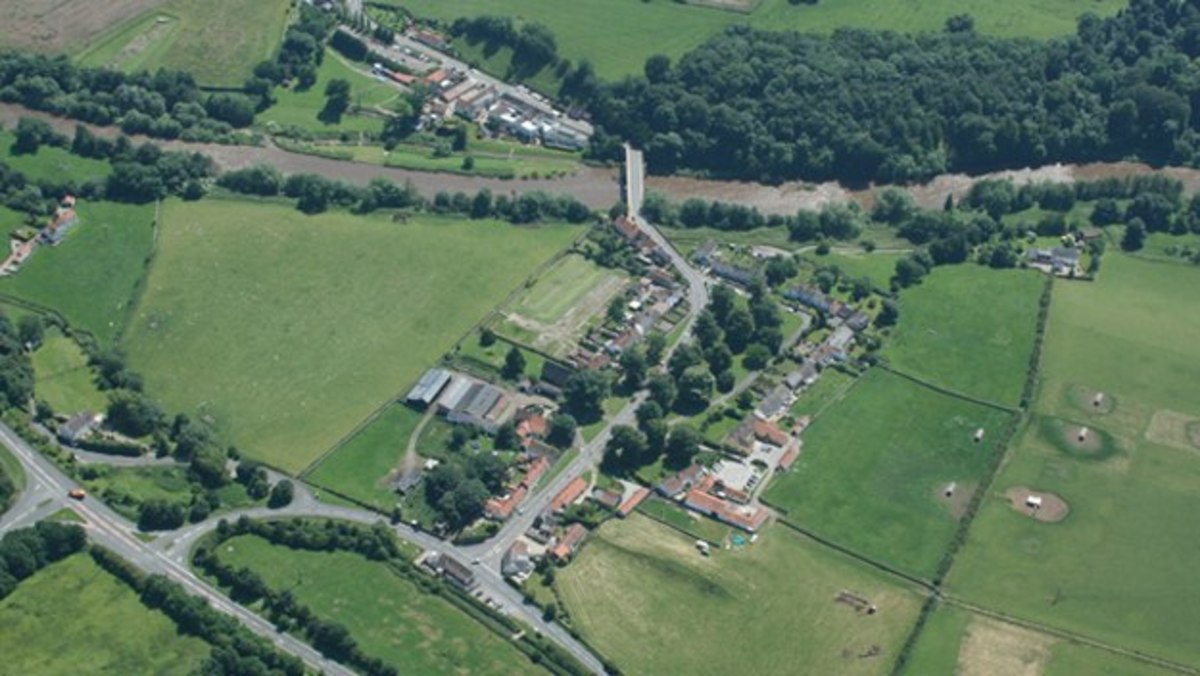 Piercebridge aerial view with the bridge fought over in the Civil War