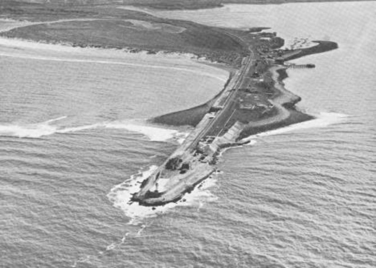 Aerial view of the South Gare in the course of construction - top right is Paddy's Hole with the inshore fishing boat haven