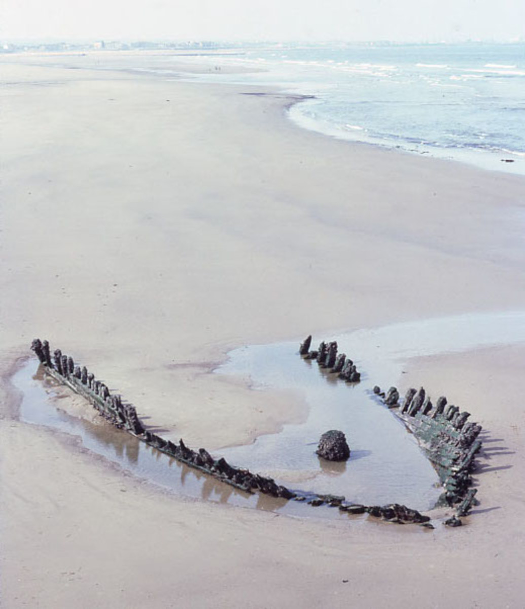 The wreck of the Danish schooner 'Doris' located 1983 near the South Gare, seen here at low tide. Shifting sands exposed the skeleton of the vessel.