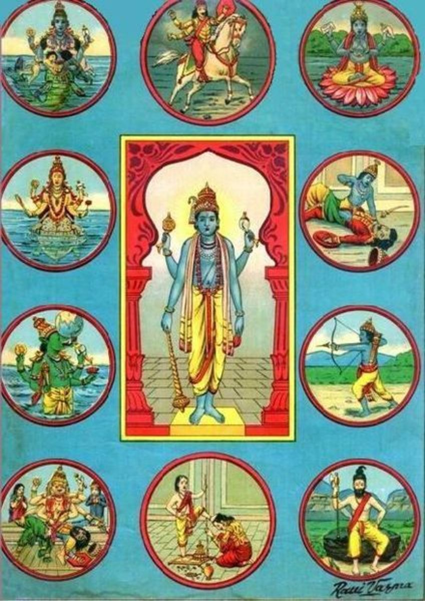 A great Indian artist's impressions of the 10 Avatars - the Dasha Avatar. From top left (anti clockwise) - Matsya, Koorma, Varaha, Narasimha, Vamana, Parashurama, Rama, Balarama, Krishna and Kalki