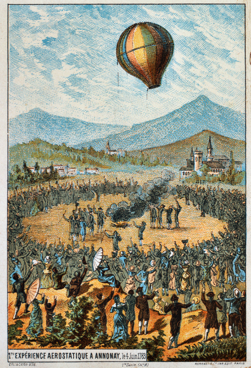 THE BROTHERS MONTGOLFIER HOT AIR BALLOON TAKES FLIGHT