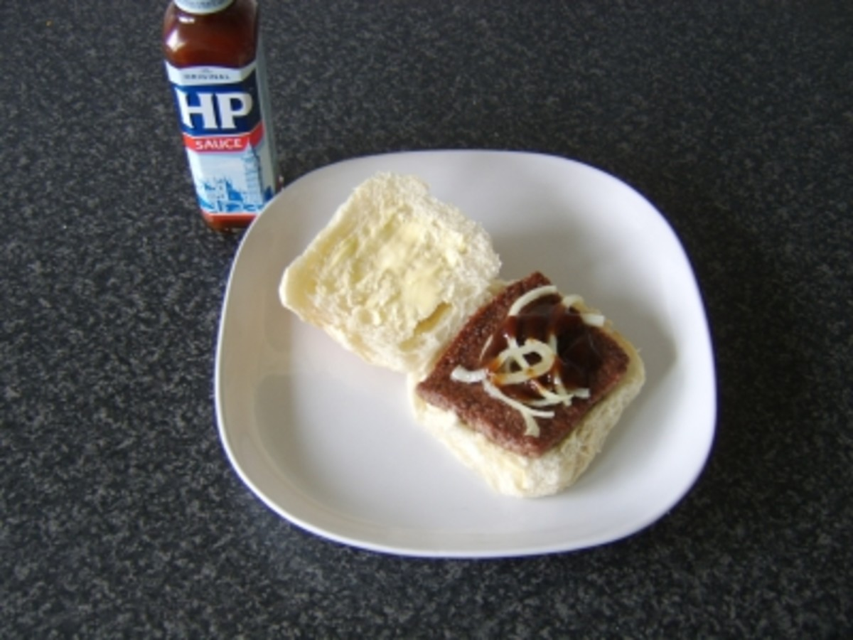 Roll and Sausage with HP Sauce