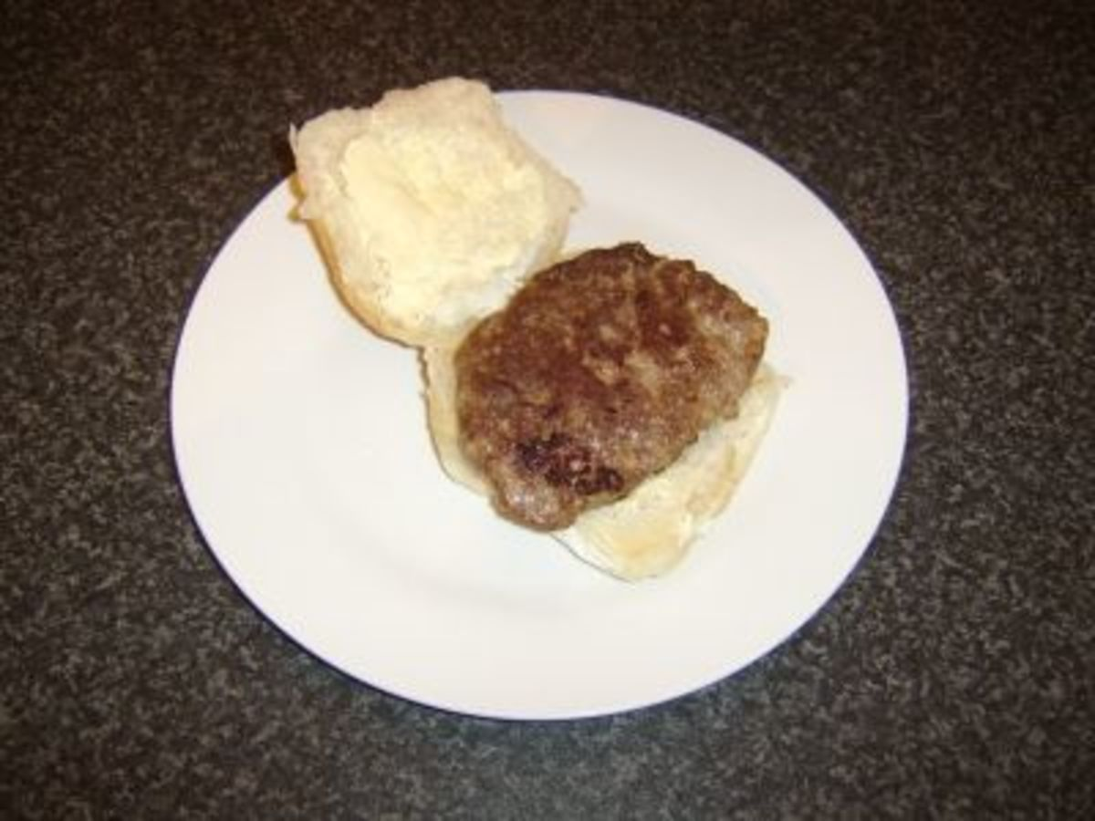 Homemade Lorne sausage on a roll
