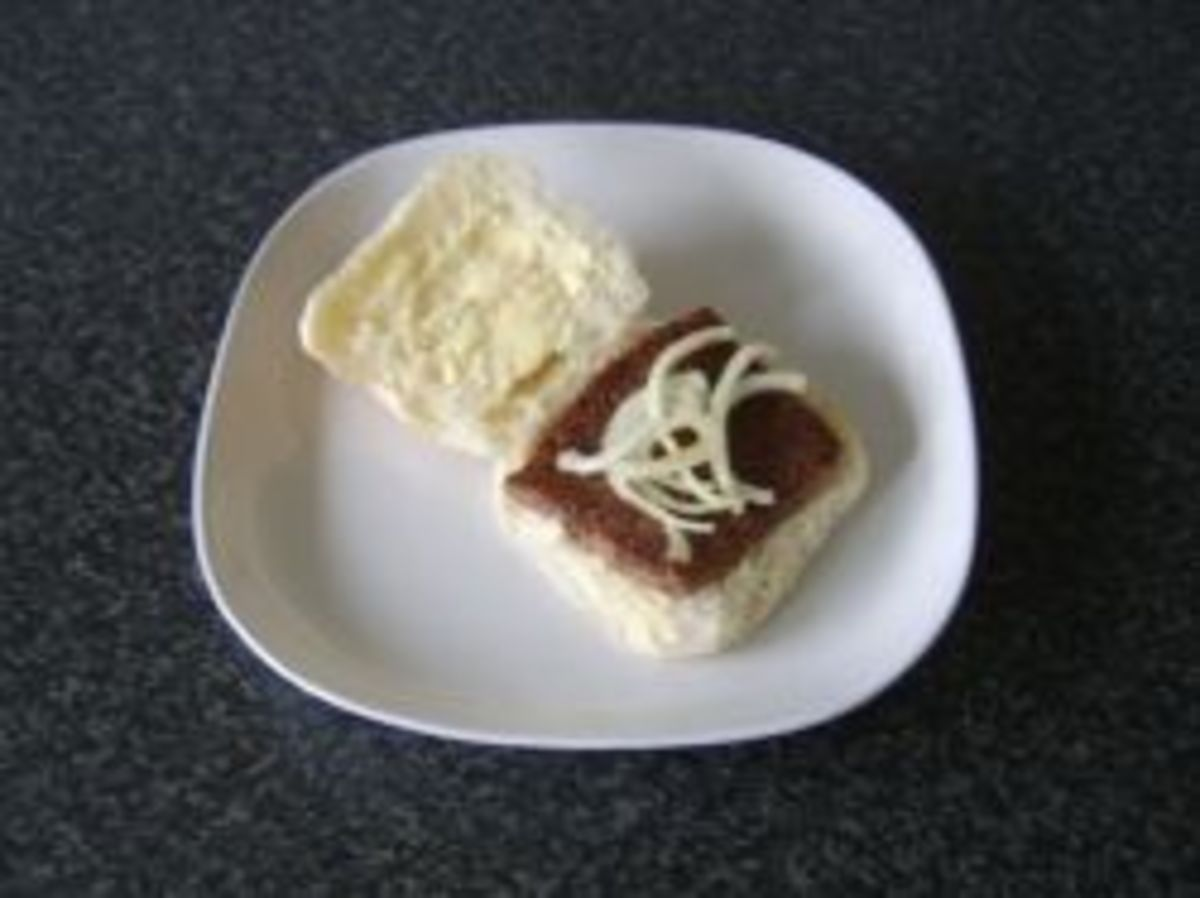 Scottish roll and sausage and fried onions