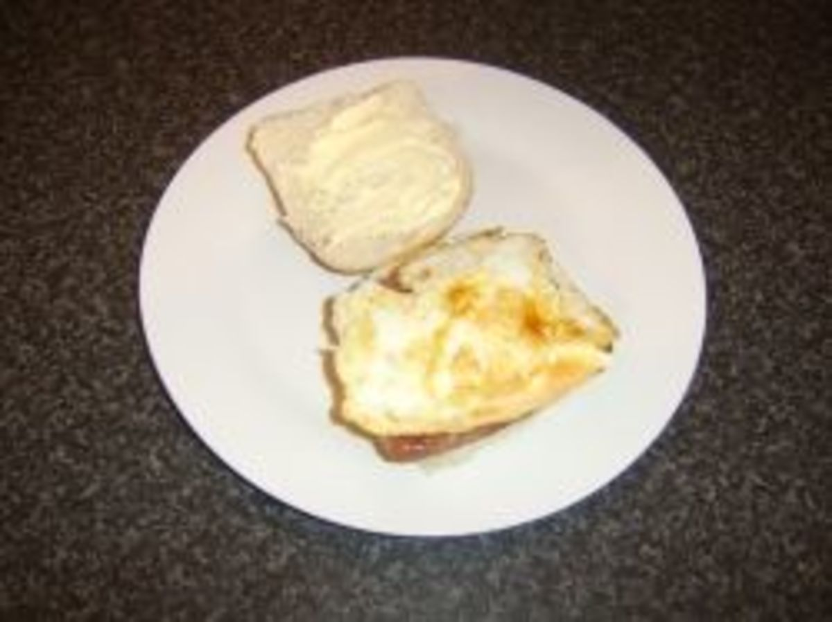 Scottish roll and sausage and fried egg