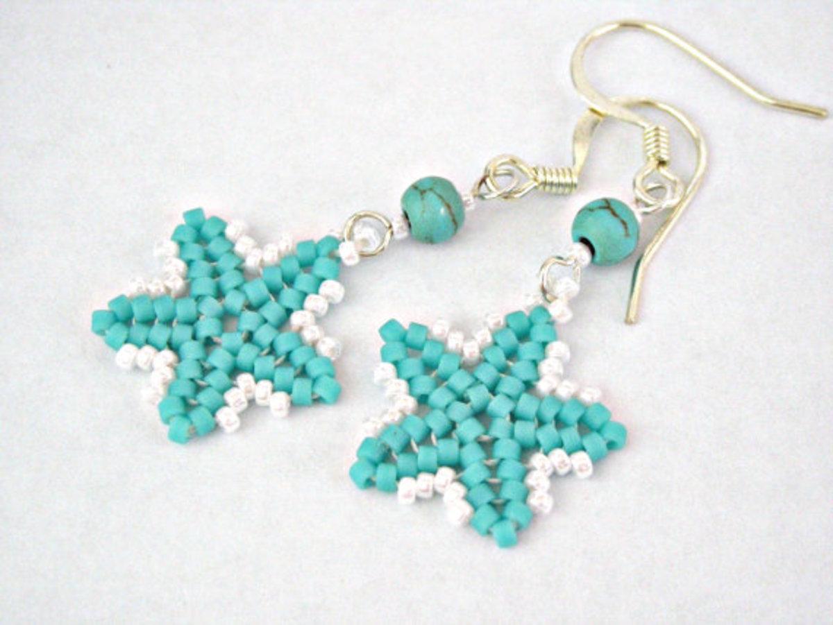 Turquoise blue sea star herringbone earrings