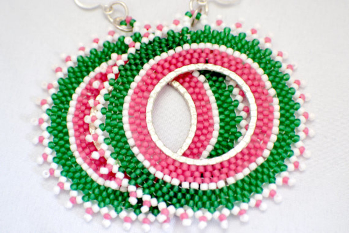 Beadwoven Hoops in Green and Pink