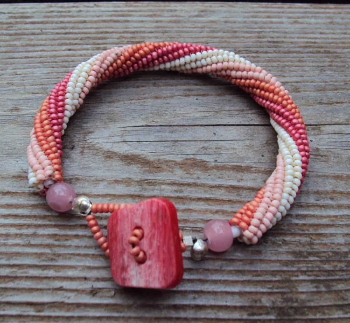 Herringbone Bracelet in Sherberts with Cute Button Closure