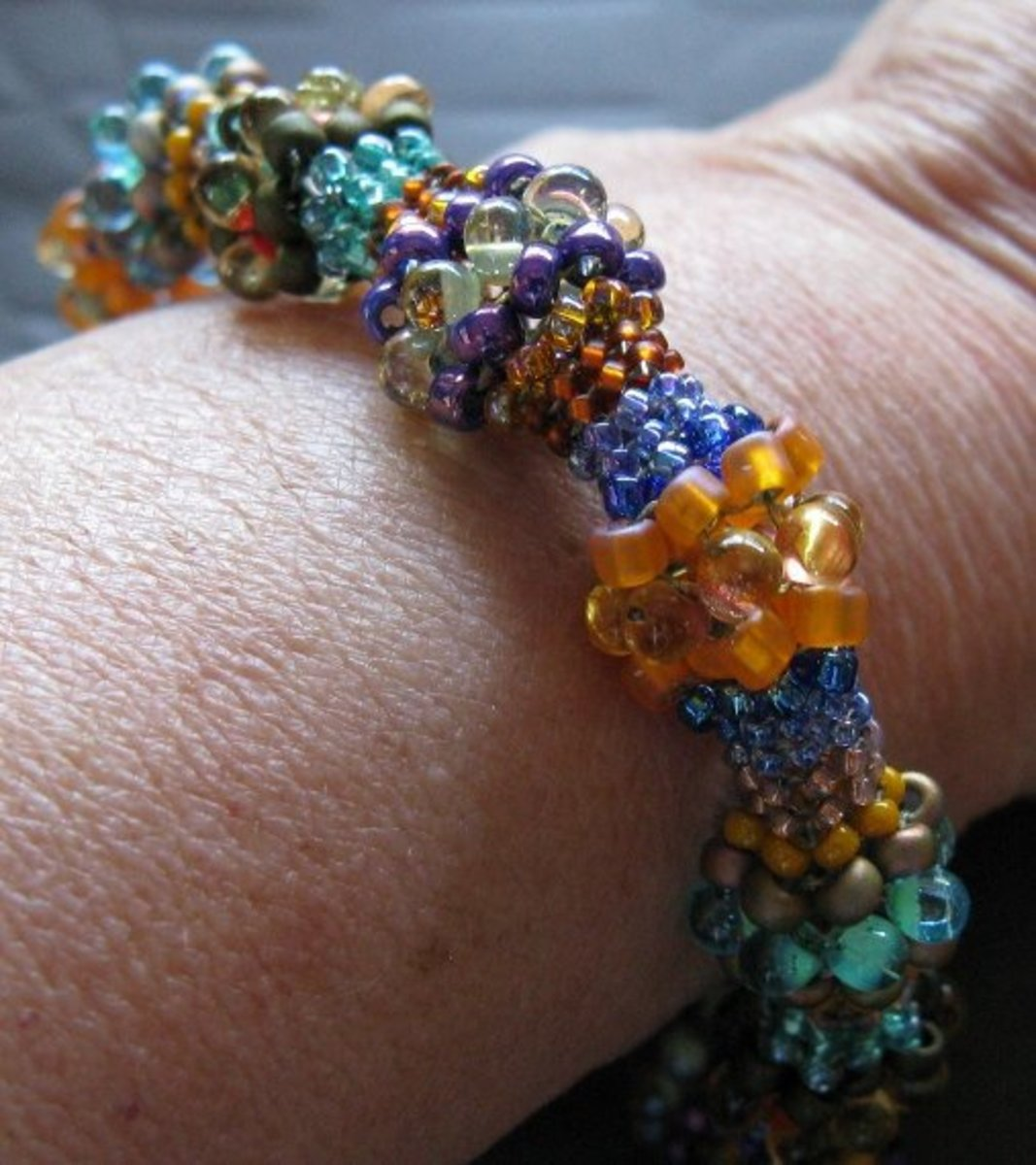 Hand woven Herringbone (Ndebele) Bracelet made from Japanese Seed beads