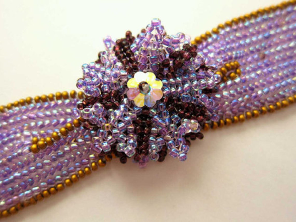 Beaded Herringbone Flower Bracelet