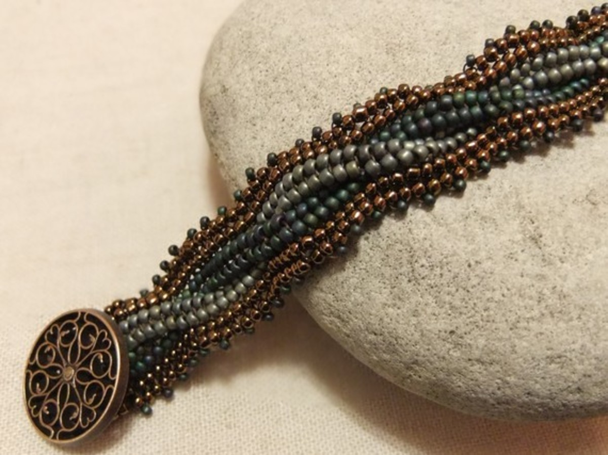 beaded Herringbone bracelet in brass, turquoise and blue