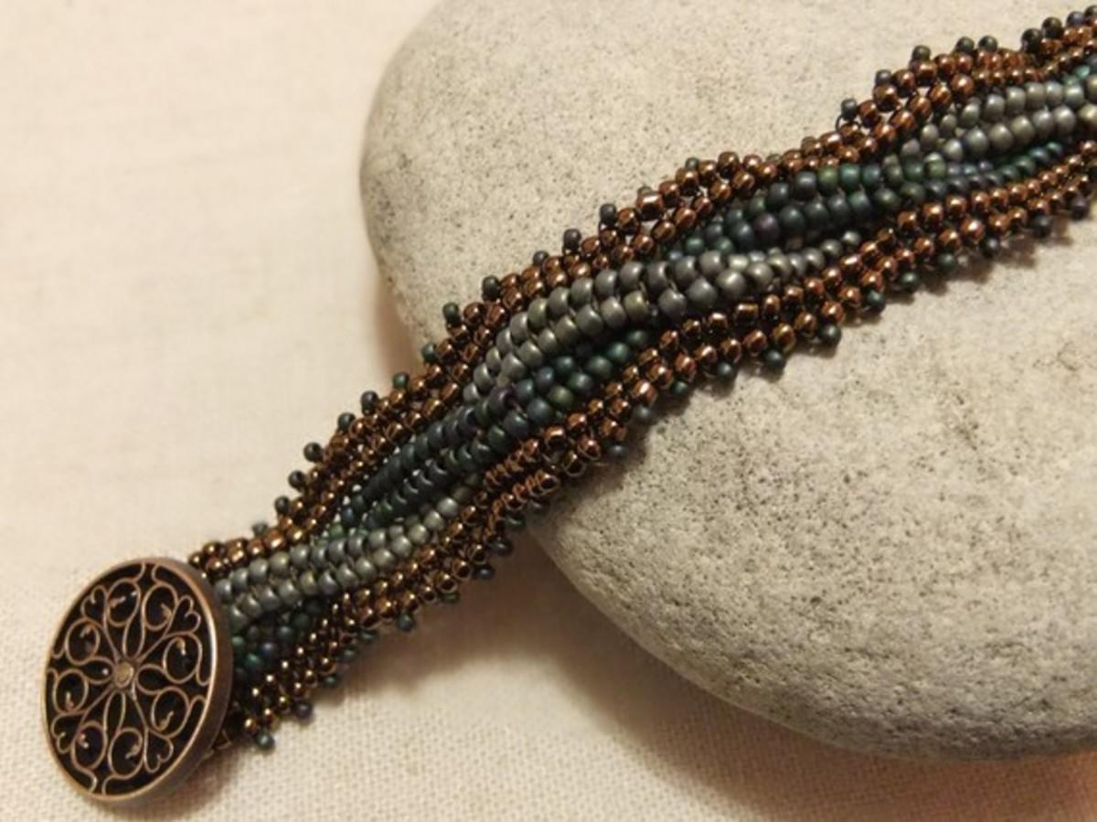beaded Herringbone bracelet in brass, turquoise and blue