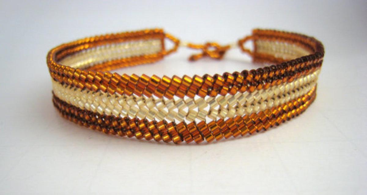 Beadwork Herringbone Bracelet, Bronze, Beaded Bracelet