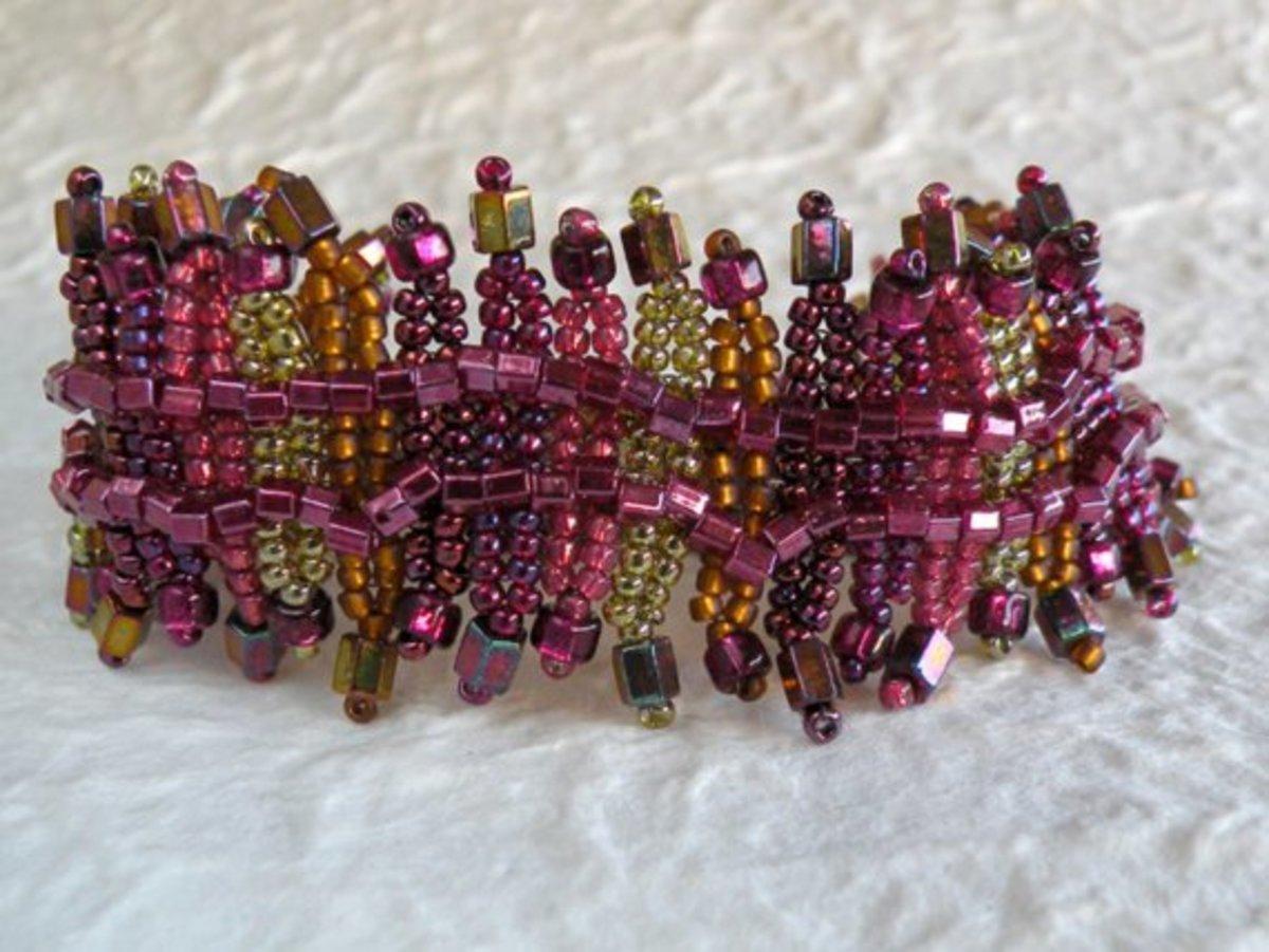 Cherries and Lime Ndbele Fringe Bracelet