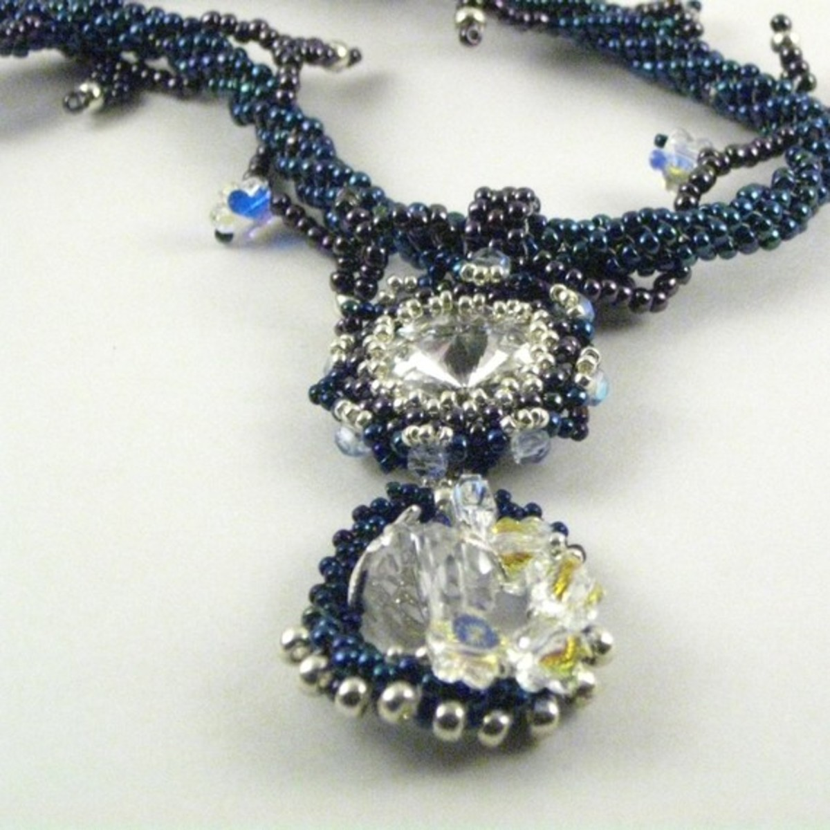 Navy Teardrop Pendant Necklace with Swarovski Crystals