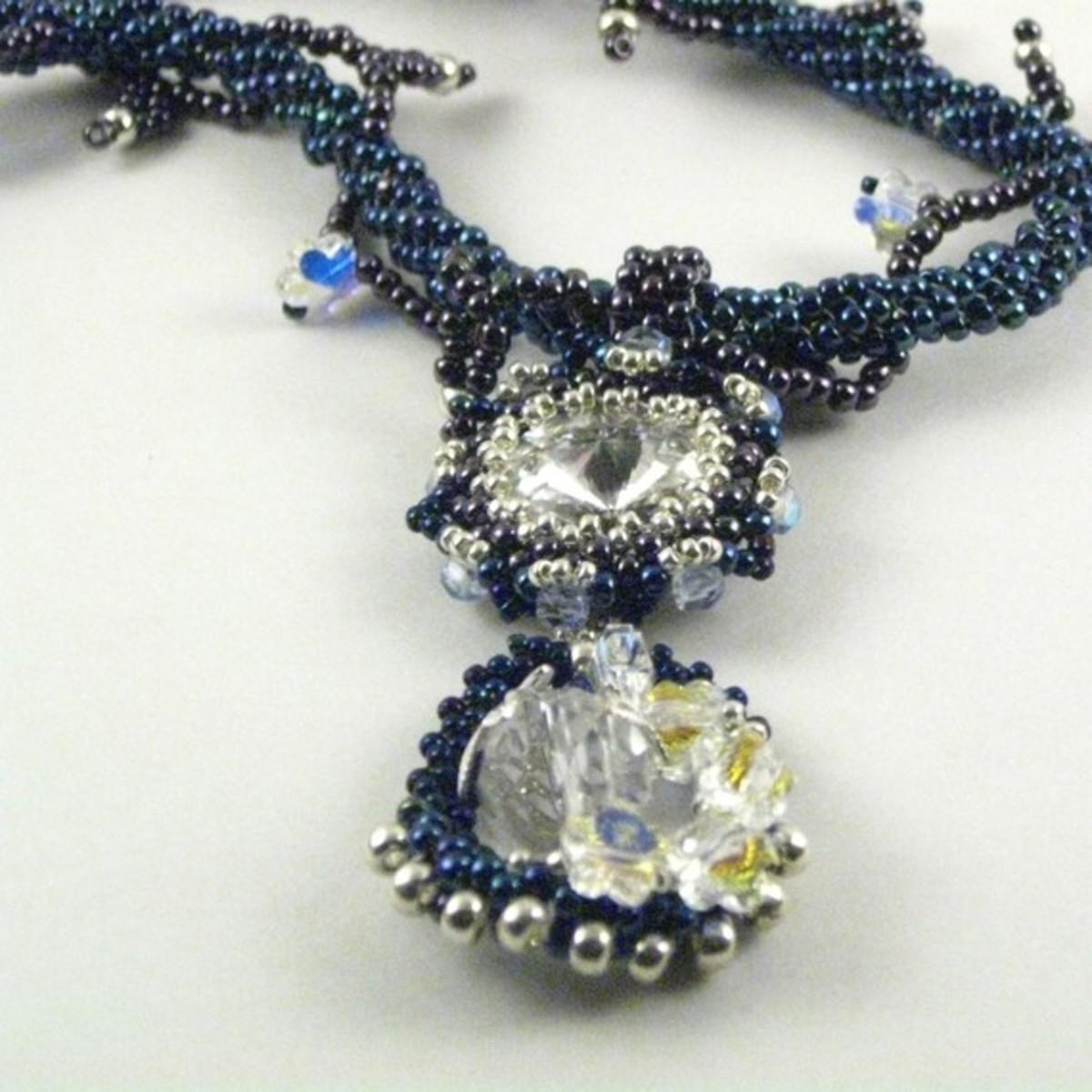 Navy Teardrop Pendant Necklace with Swarovski Crystals