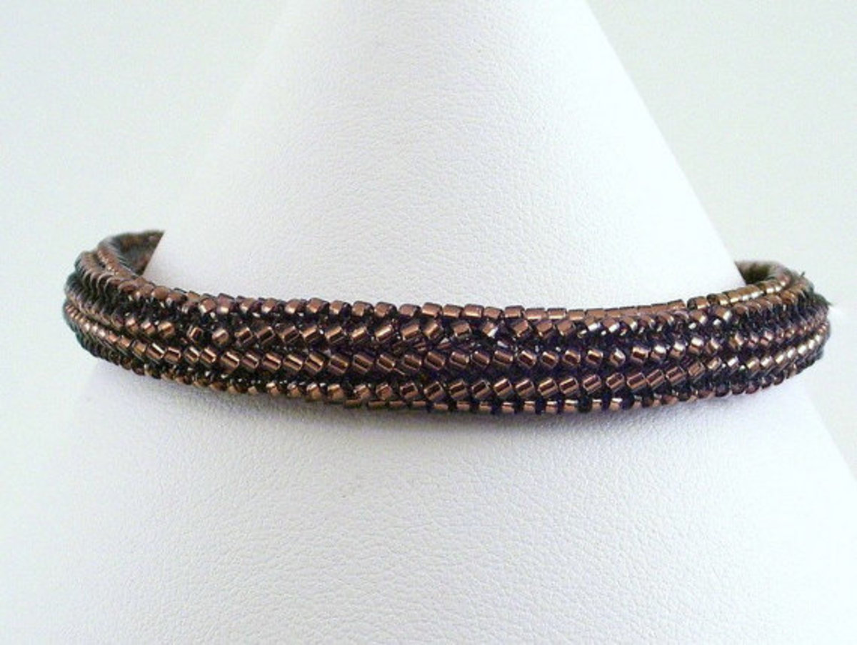 Coppery Brown Bracelet Herringbone Stitch