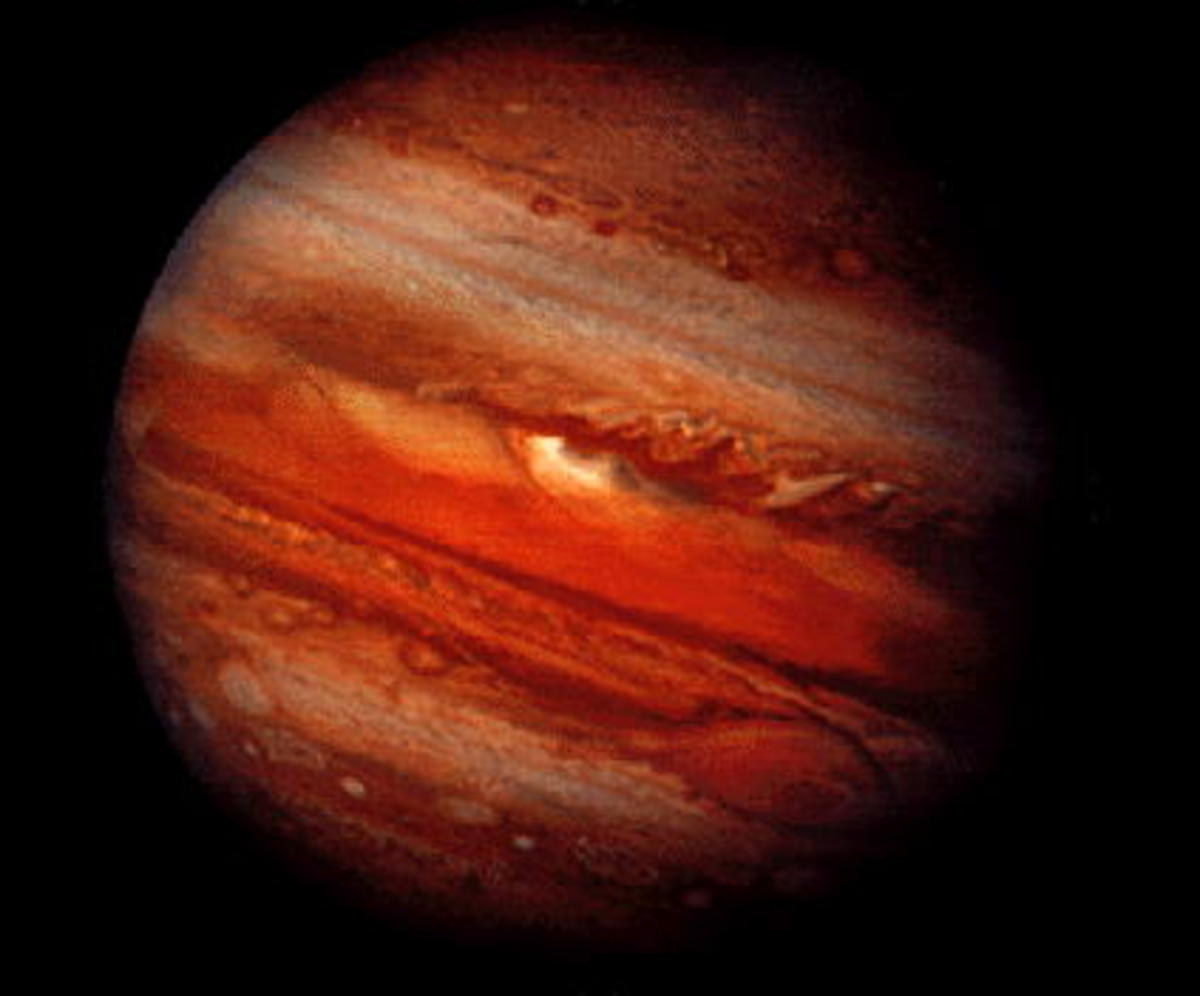 Jupiter, showing its Red Spot on the bottom right