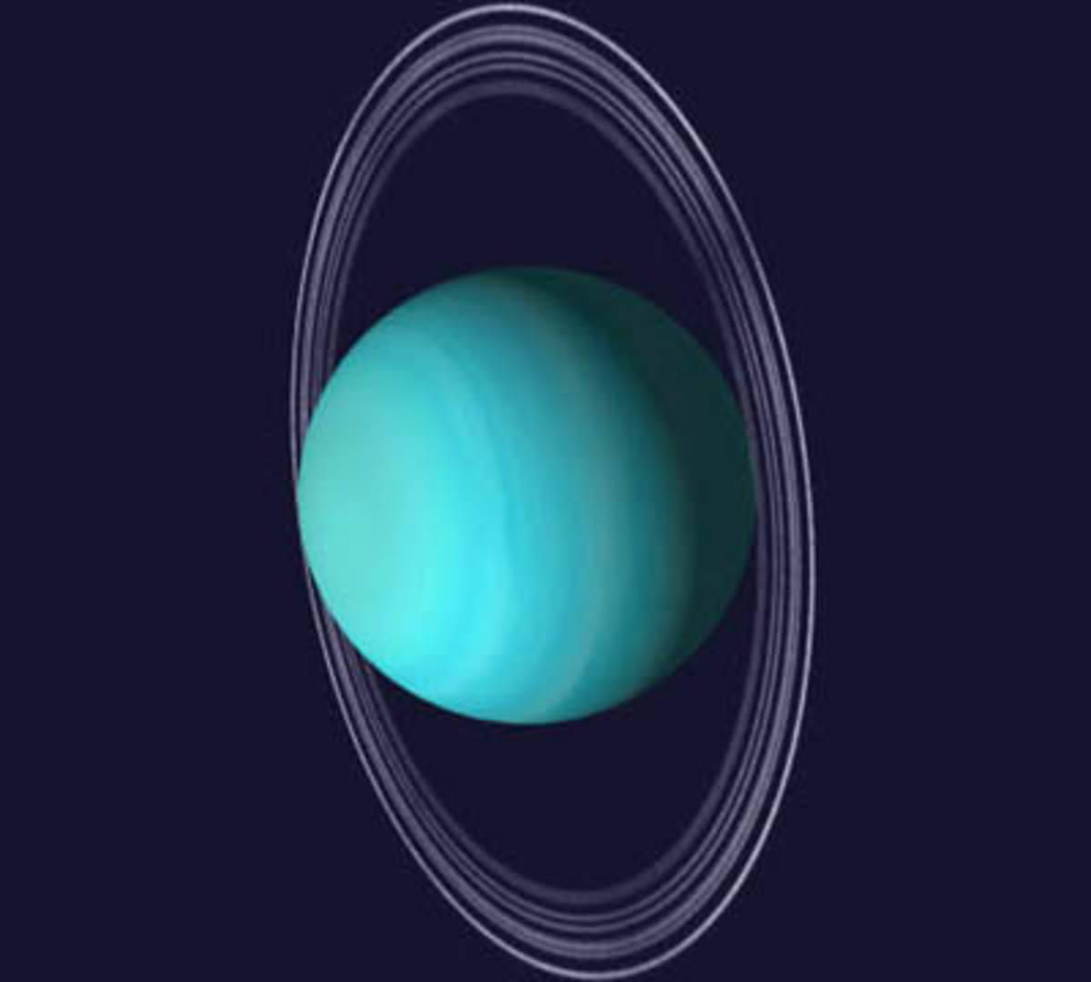 Uranus, showing its rings.