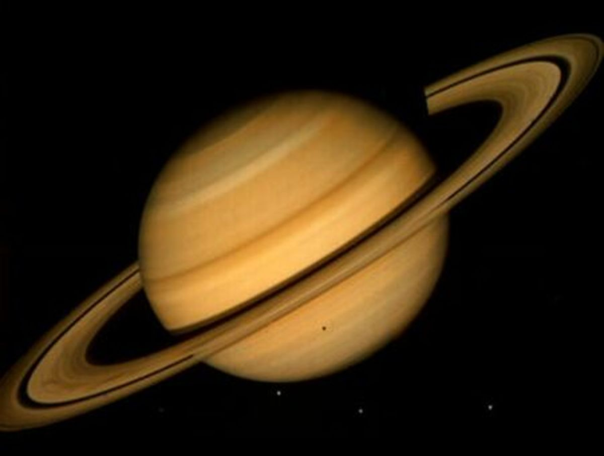 Saturn, showing a moon crossing across the bottom half (the small black spot)