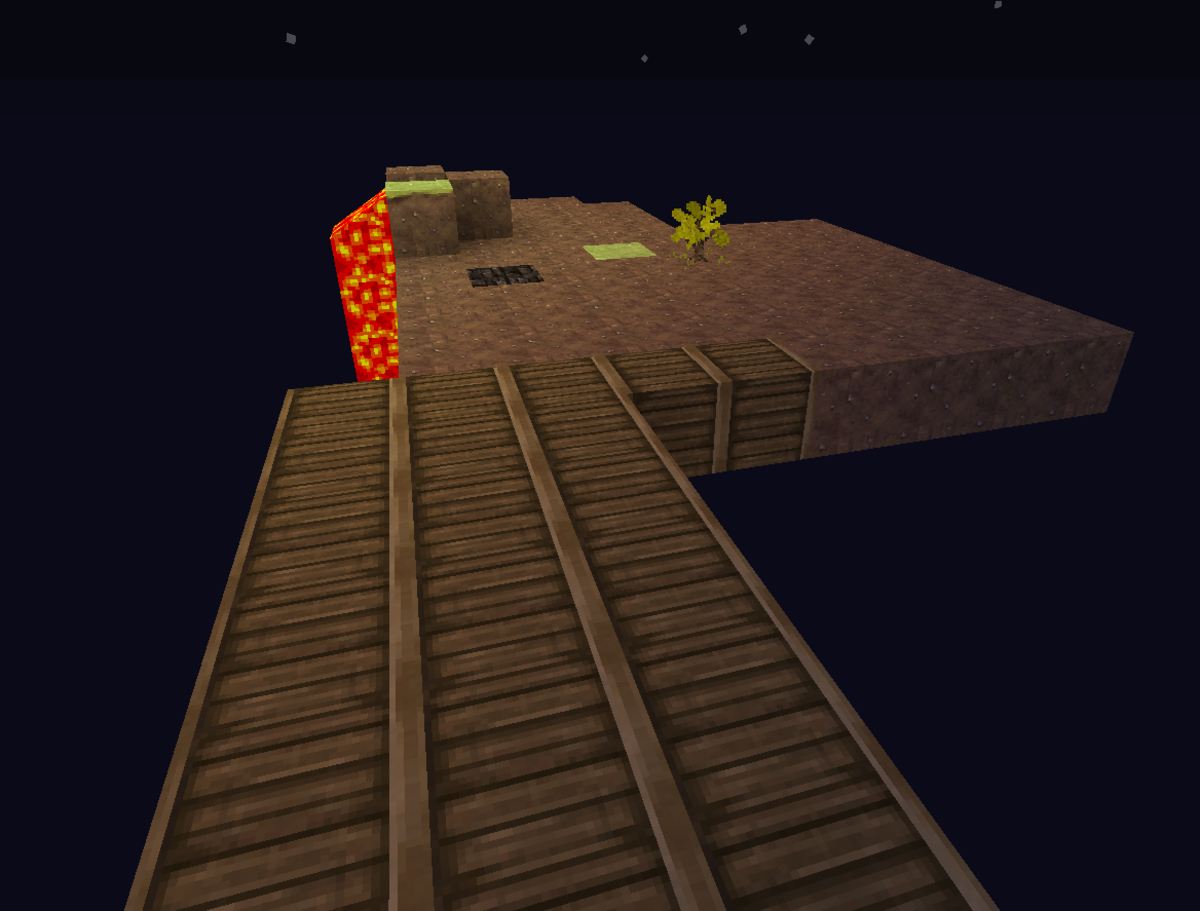 My first  (fatally flawed) night on SkyBlock Island.