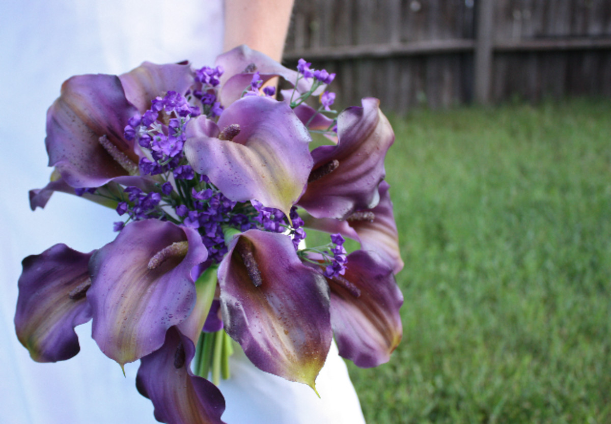 Purple Calla Lily Bouquet with Real Touch Roses by Lilywinkel.com