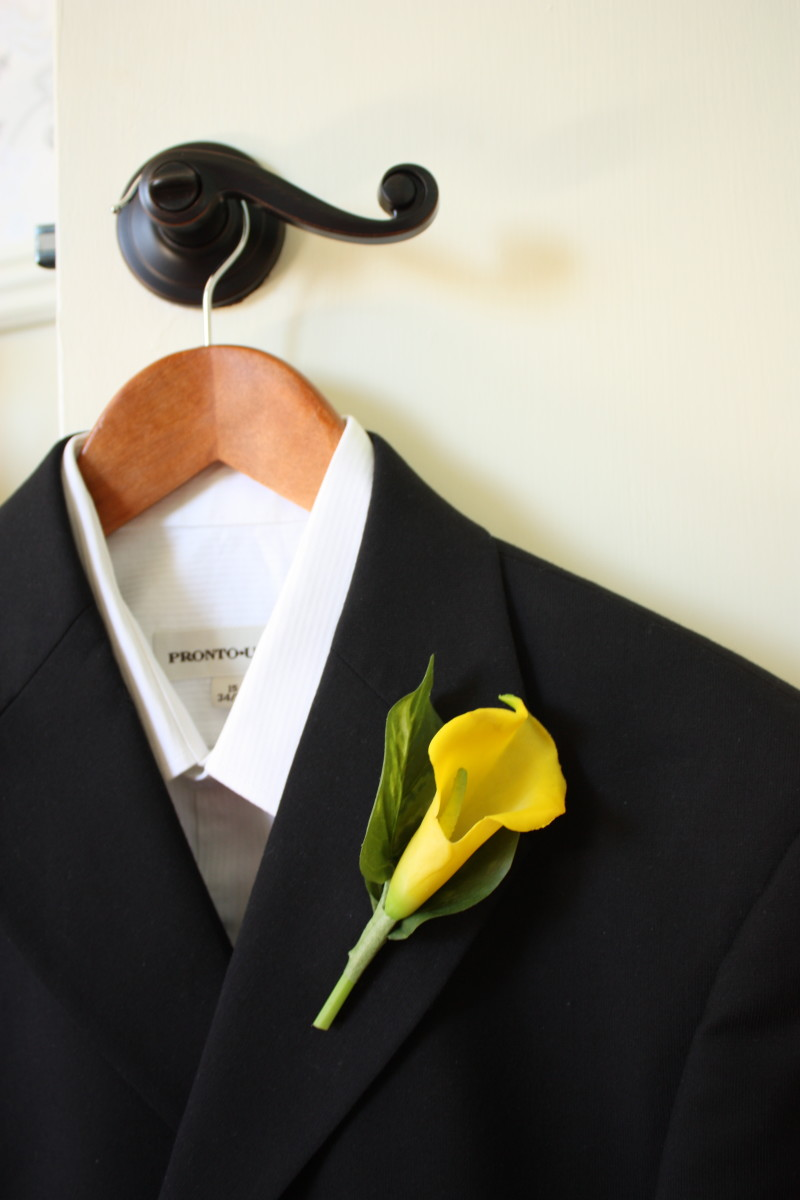 Real Touch Yellow Calla Lily Boutonniere
