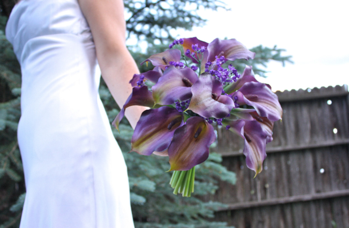 Purple Calla Lily Bouquet with Real Touch Roses by Lilywinkel