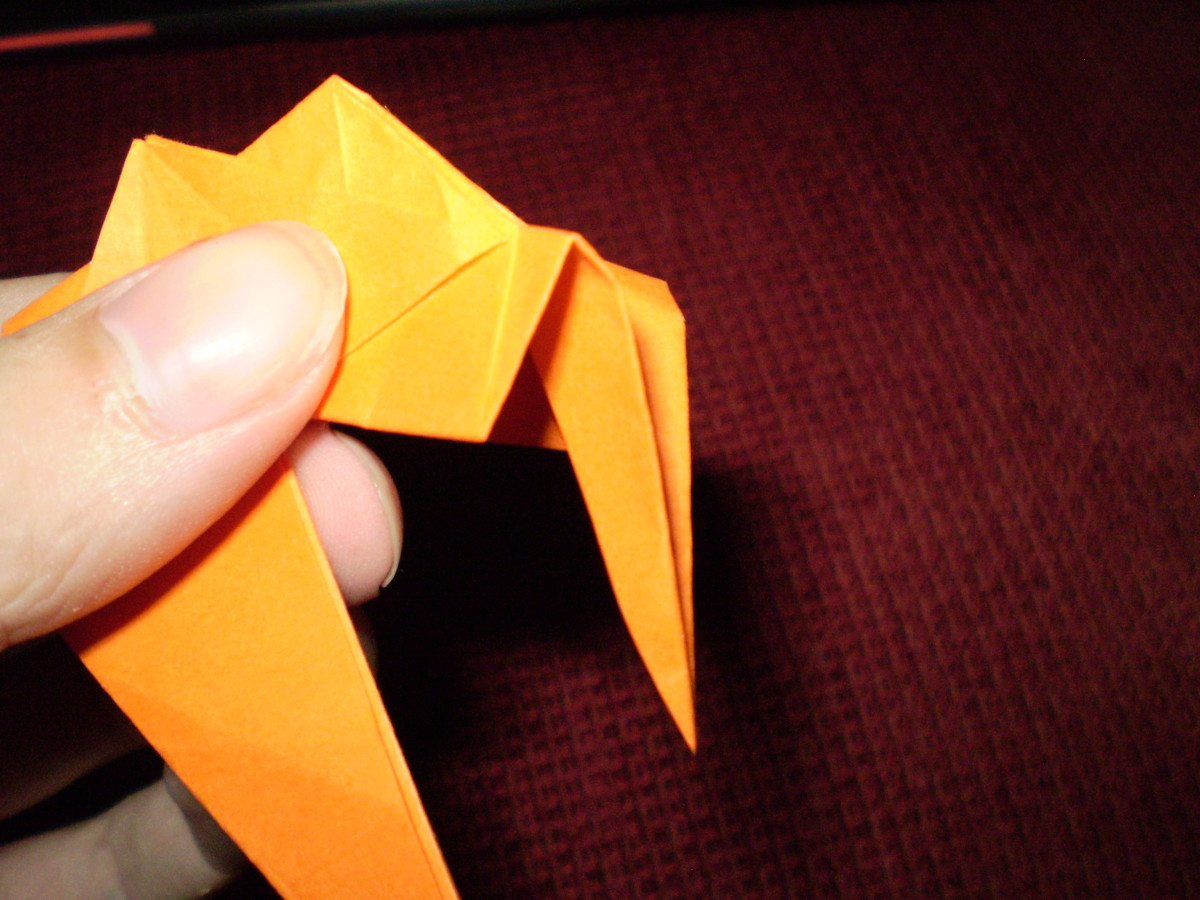 Do another reverse fold, folding the 'leg' back the way it came.