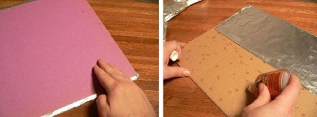 Cut the reflector panel out of a sheet of cardboard. Turn it over, apply some glue, and attach foil to entire back.