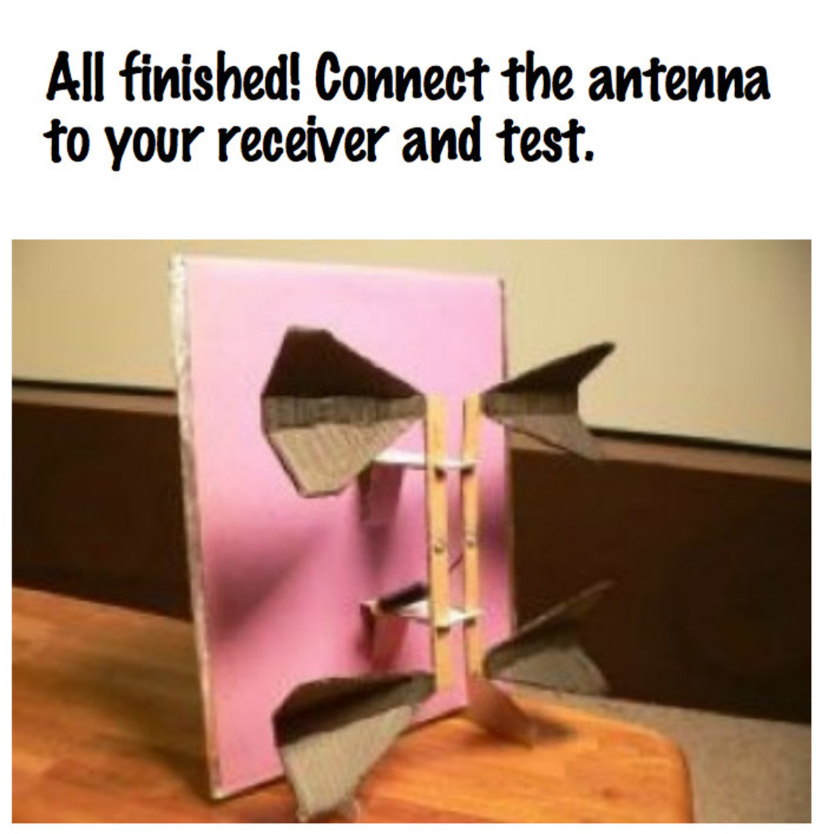 Connect your new antenna to your receiver and test.