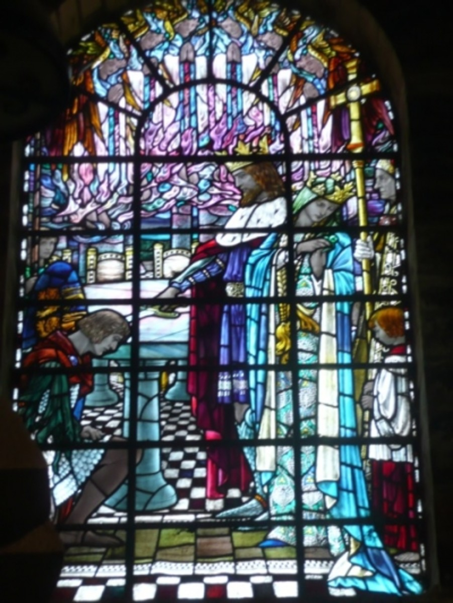 One of over 70 incredible stained glass windows inside King Arthur's Great Halls