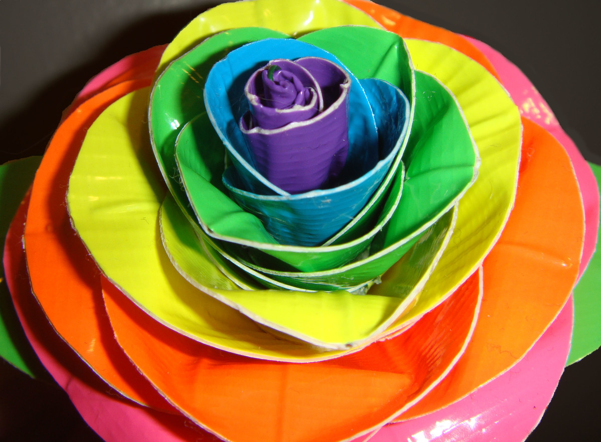 Duct Tape Neon Rainbow Rose CU by *DuckTapeBandit on deviantART