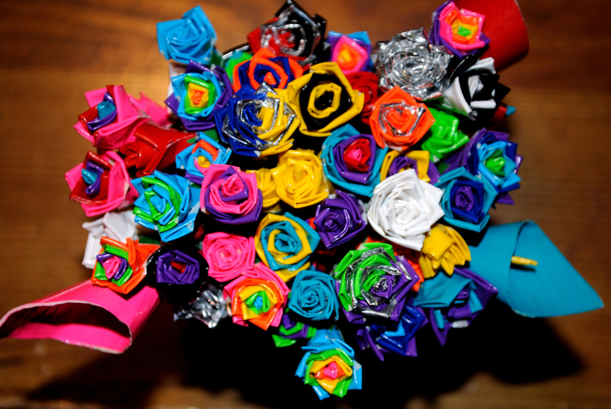Mini Duct Tape Flowers WIP 2 by *ImaRawkStar on deviantART