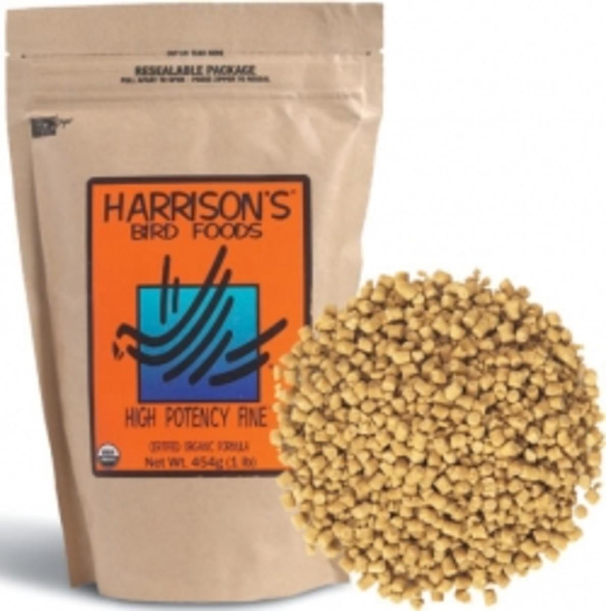 Harrison's Bird Foods is an organic pelleted food sold by m avian vet.