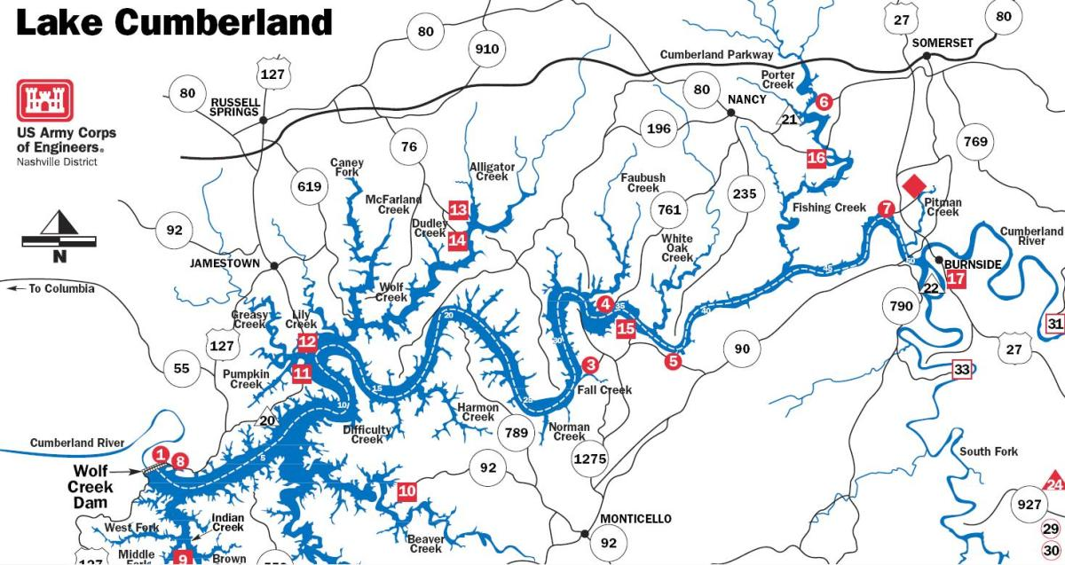 Lake cumberland Map