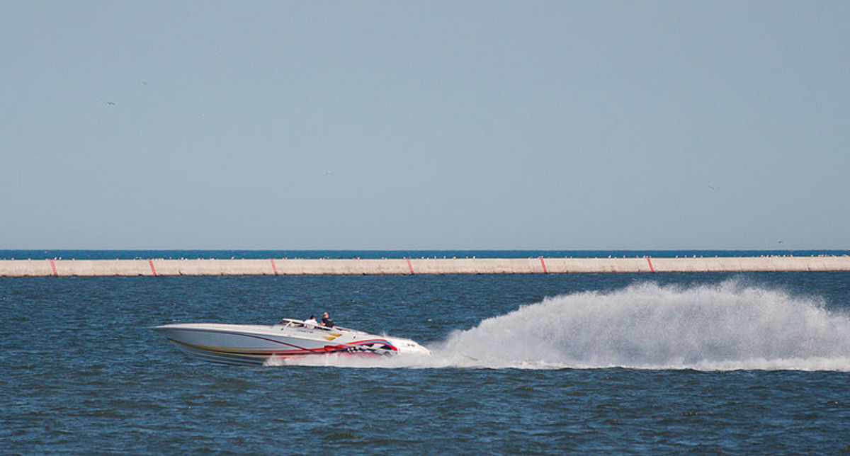 Speeding boats add to the excitement of a Poker Run