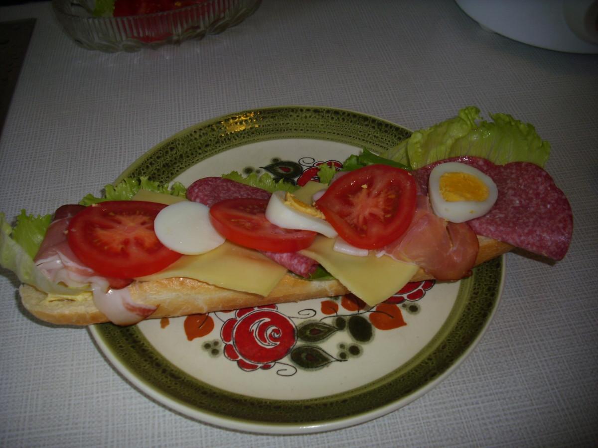 Schwarzwälder (Black Forest Ham), Cheese, Salami  half baguette