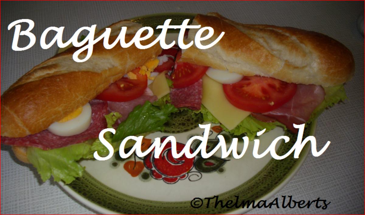 Selfmade baguette sandwich.