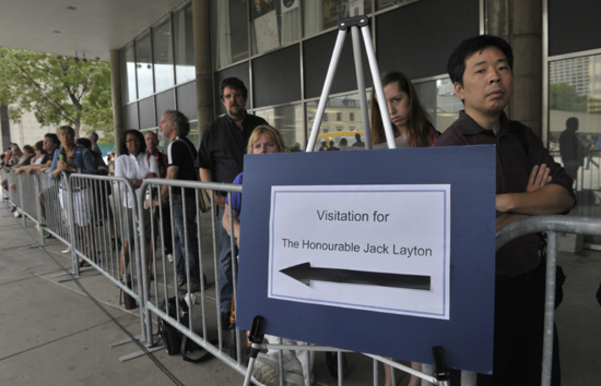 Line up for the visitation at City Hall, August 25, 2011.