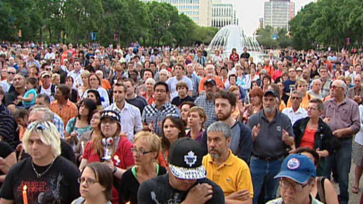 The steps of the Alberta legislature in Edmonton. The large crowd at Wednesday night's (August 24) vigil included many people who aren't NDP supporters but nevertheless came to pay their respects to party leader Jack Layton.