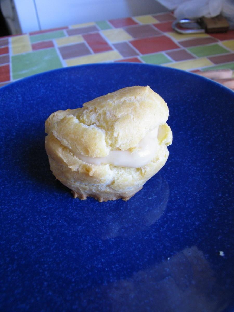 Custard filled cream puff