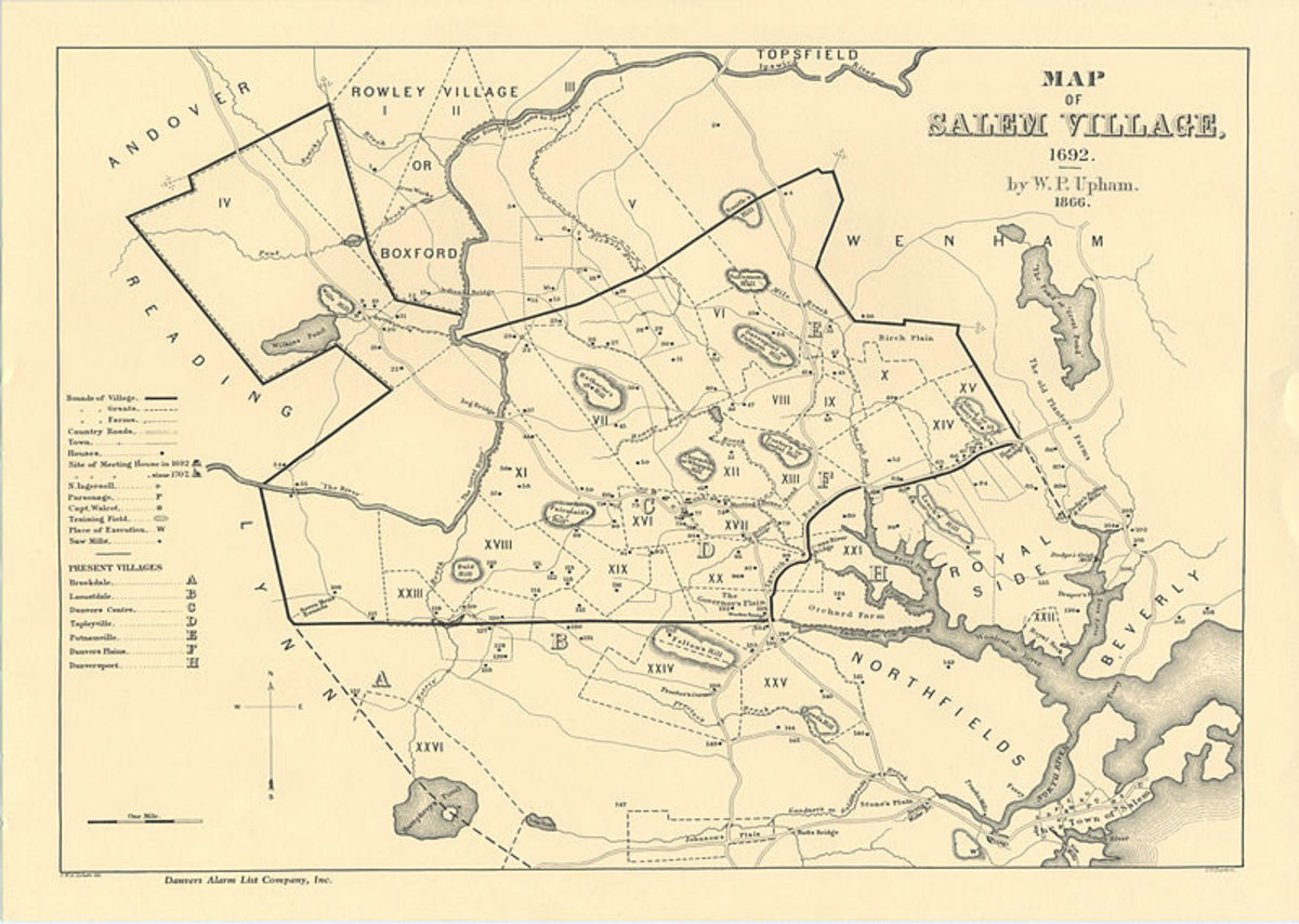 Map of Salem Village in 1692.
